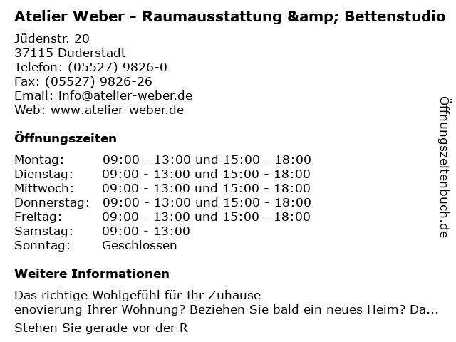 Atelier Weber - Raumausstattung & Bettenstudio in Duderstadt: Adresse und Öffnungszeiten