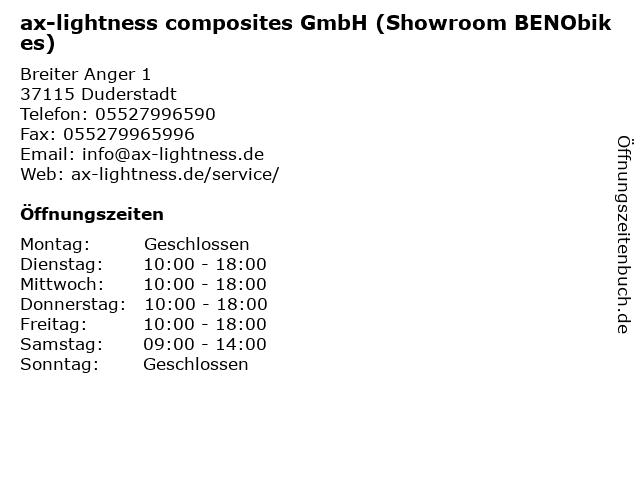 ax-lightness composites GmbH (Showroom BENObikes) in Duderstadt: Adresse und Öffnungszeiten
