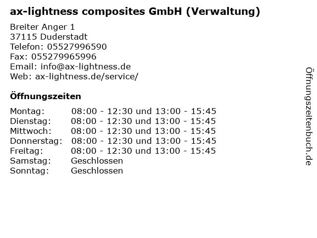 ax-lightness composites GmbH (Verwaltung) in Duderstadt: Adresse und Öffnungszeiten