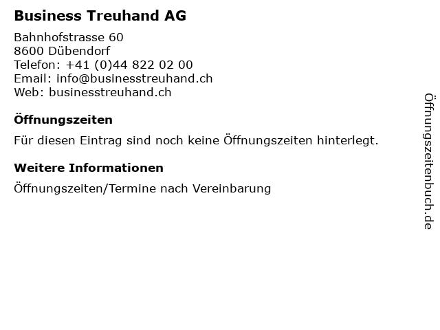 Business Treuhand AG in Dübendorf: Adresse und Öffnungszeiten