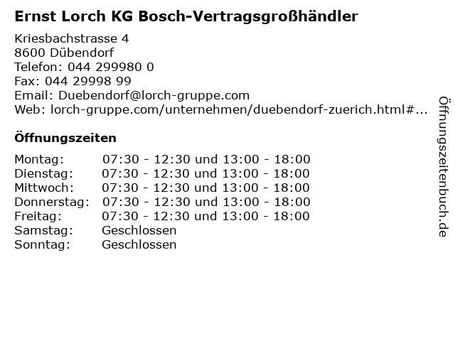 Ernst Lorch KG Bosch-Vertragsgroßhändler in Dübendorf: Adresse und Öffnungszeiten