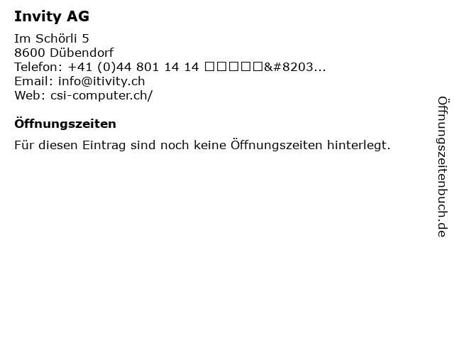 Invity AG in Dübendorf: Adresse und Öffnungszeiten