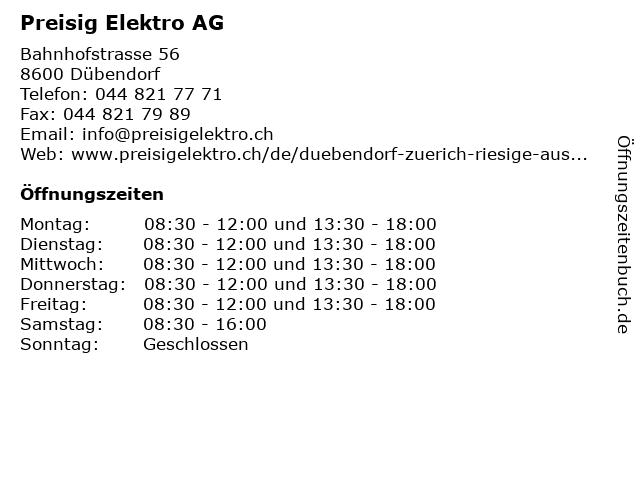 Preisig Elektro AG in Dübendorf: Adresse und Öffnungszeiten
