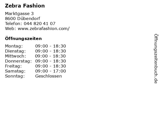 ᐅ öffnungszeiten Zebra Fashion Marktgasse 3 In Dübendorf