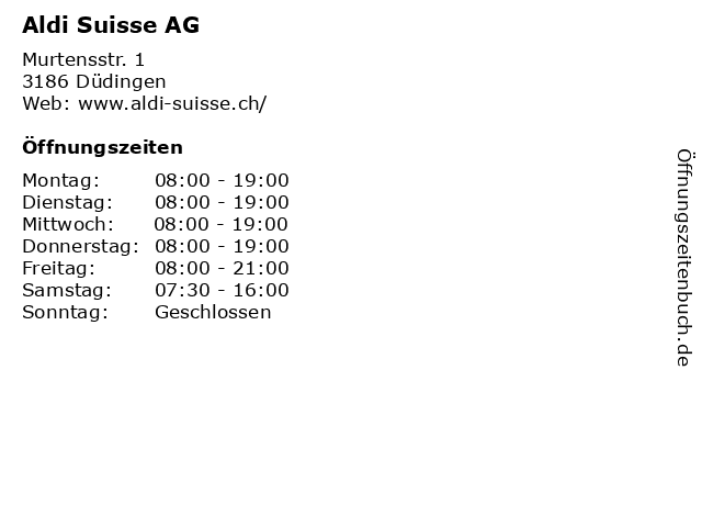 Aldi Suisse AG in Düdingen: Adresse und Öffnungszeiten