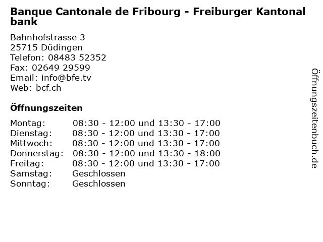 Banque Cantonale de Fribourg - Freiburger Kantonalbank in Düdingen: Adresse und Öffnungszeiten