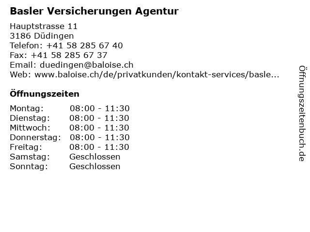 Basler Versicherungen Agentur in Düdingen: Adresse und Öffnungszeiten