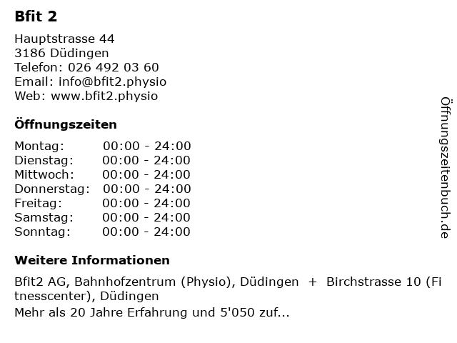 Bfit 2 in Düdingen: Adresse und Öffnungszeiten