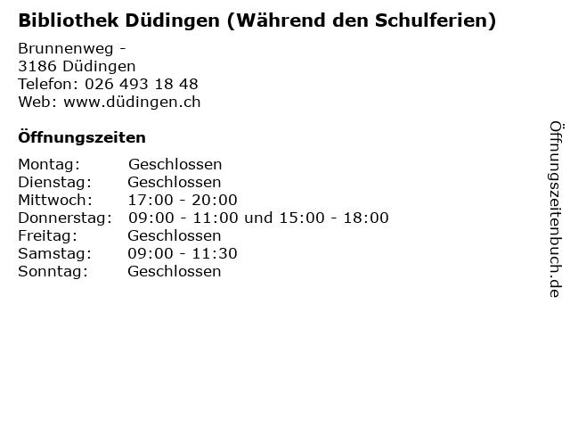 Bibliothek Düdingen (Während den Schulferien) in Düdingen: Adresse und Öffnungszeiten