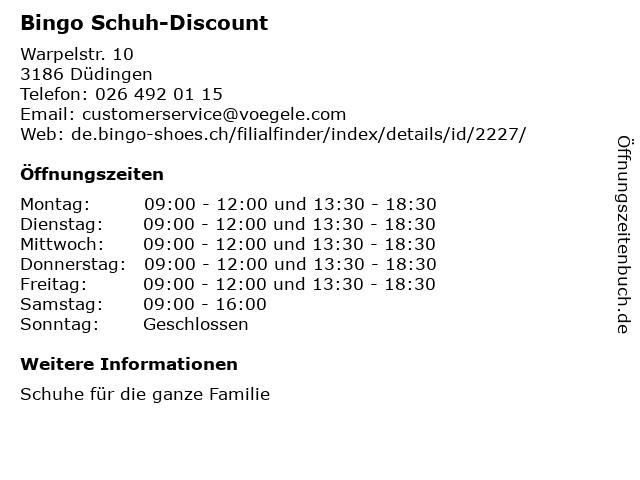 Bingo Schuh-Discount in Düdingen: Adresse und Öffnungszeiten
