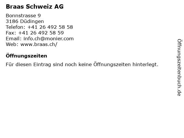 Braas Schweiz AG in Düdingen: Adresse und Öffnungszeiten
