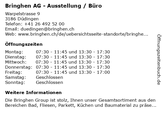 Bringhen AG - Ausstellung / Büro in Düdingen: Adresse und Öffnungszeiten