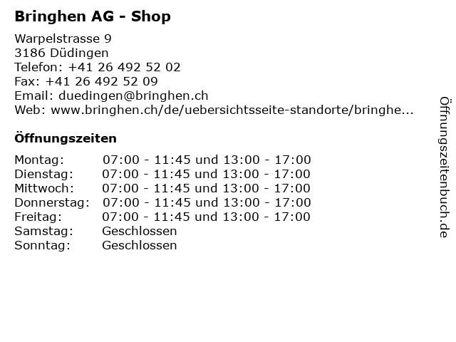 Bringhen AG - Shop in Düdingen: Adresse und Öffnungszeiten