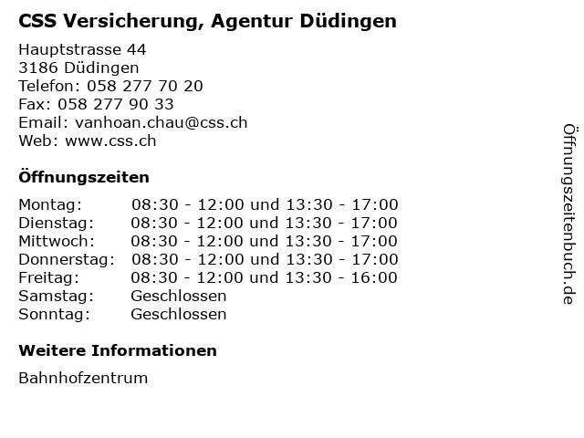 CSS Versicherung, Agentur Düdingen in Düdingen: Adresse und Öffnungszeiten