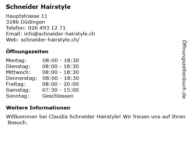 Coiffure Claudia Schneider Hairstyle in Düdingen: Adresse und Öffnungszeiten