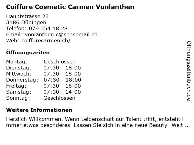 Coiffure Cosmetic Carmen Vonlanthen in Düdingen: Adresse und Öffnungszeiten