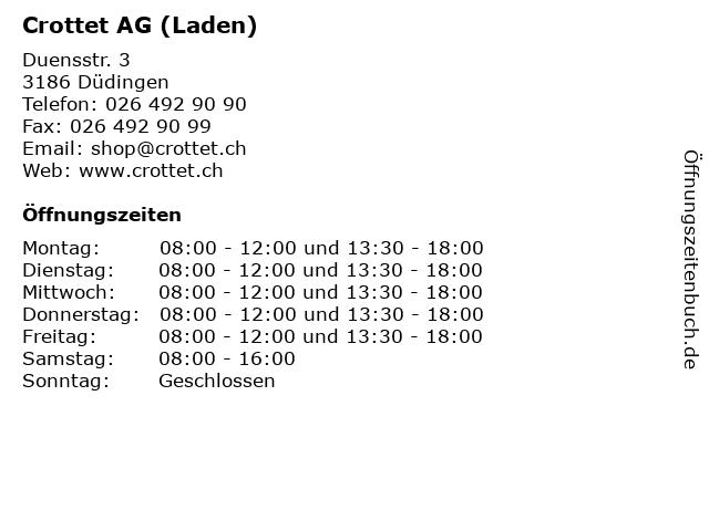 Crottet AG (Laden) in Düdingen: Adresse und Öffnungszeiten