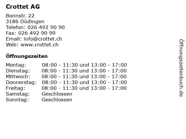 Crottet AG in Düdingen: Adresse und Öffnungszeiten
