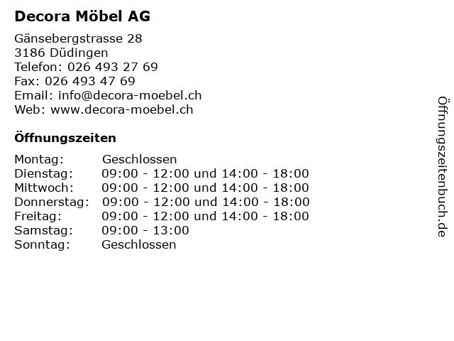 Decora Möbel AG in Düdingen: Adresse und Öffnungszeiten