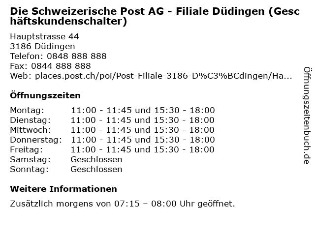 Die Schweizerische Post AG - Filiale Düdingen (Geschäftskundenschalter) in Düdingen: Adresse und Öffnungszeiten