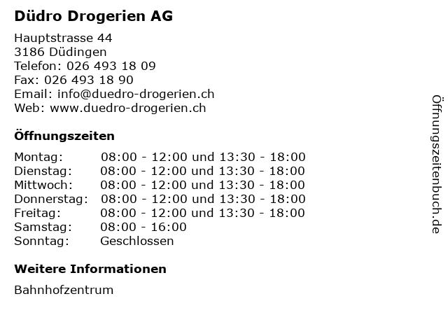 Düdro Drogerien AG in Düdingen: Adresse und Öffnungszeiten
