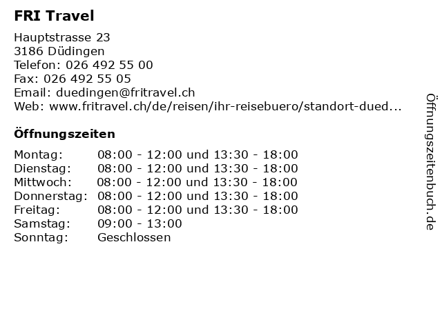 FRI Travel in Düdingen: Adresse und Öffnungszeiten