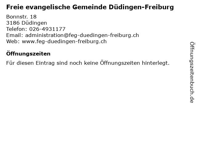 Freie evangelische Gemeinde Düdingen-Freiburg in Düdingen: Adresse und Öffnungszeiten