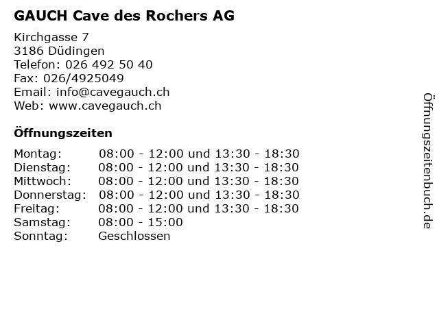 GAUCH Cave des Rochers AG in Düdingen: Adresse und Öffnungszeiten