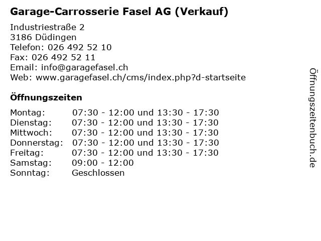 Garage-Carrosserie Fasel AG (Verkauf) in Düdingen: Adresse und Öffnungszeiten