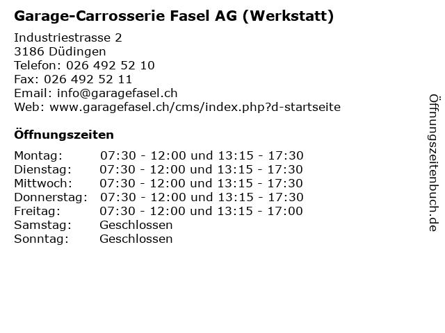 Garage-Carrosserie Fasel AG (Werkstatt) in Düdingen: Adresse und Öffnungszeiten