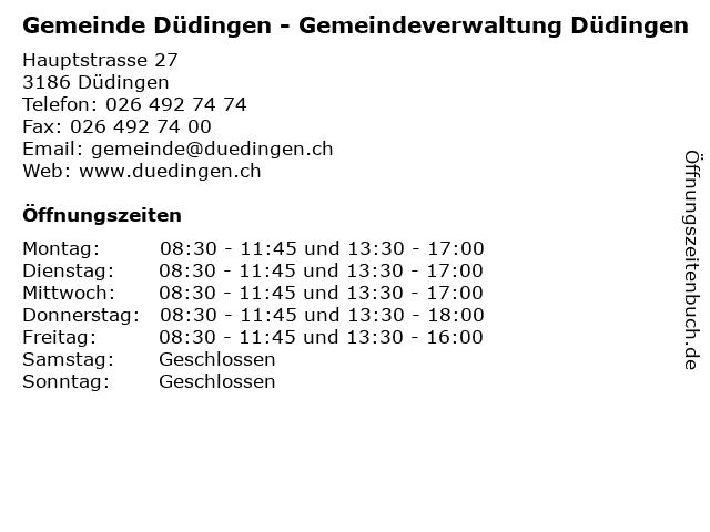 Gemeinde Düdingen - Gemeindeverwaltung Düdingen in Düdingen: Adresse und Öffnungszeiten