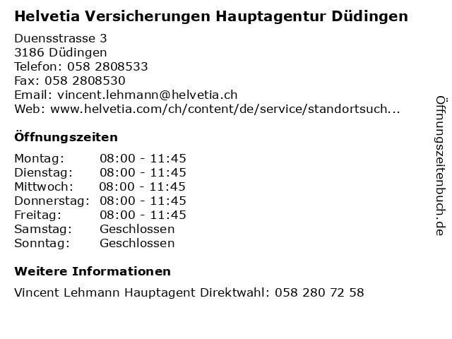 Helvetia Versicherungen Hauptagentur Düdingen in Düdingen: Adresse und Öffnungszeiten