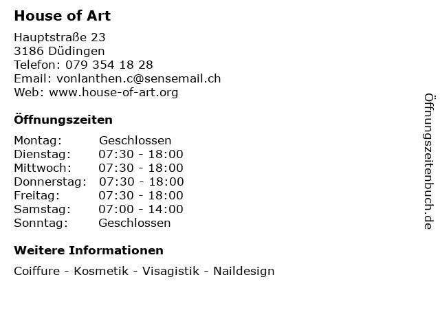 House of Art in Düdingen: Adresse und Öffnungszeiten