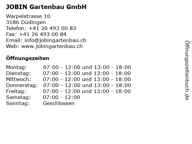 JOBIN Gartenbau GmbH in Düdingen: Adresse und Öffnungszeiten