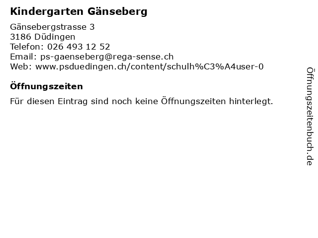 Kindergarten Gänseberg in Düdingen: Adresse und Öffnungszeiten