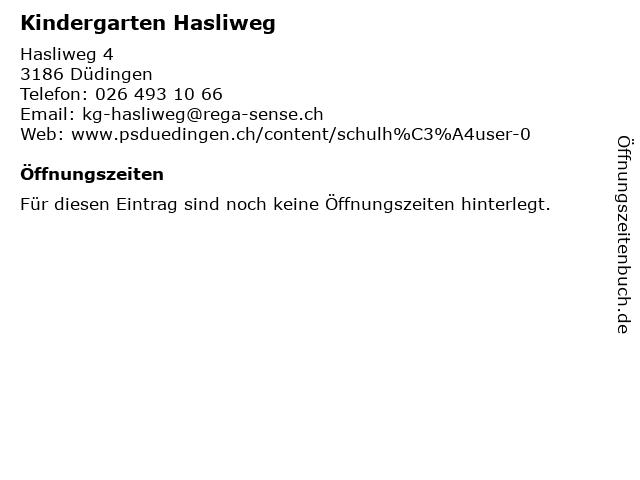 Kindergarten Hasliweg in Düdingen: Adresse und Öffnungszeiten