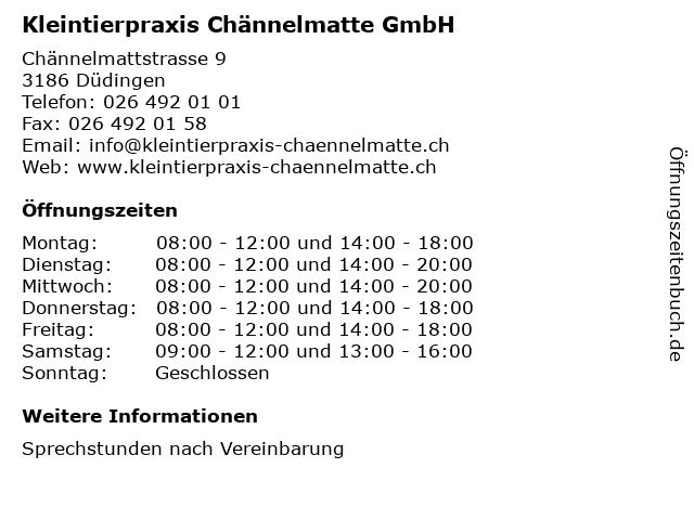 Kleintierpraxis Chännelmatte GmbH in Düdingen: Adresse und Öffnungszeiten