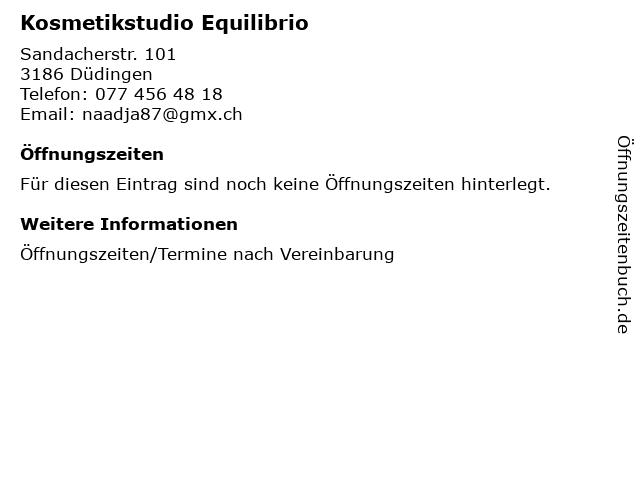 Kosmetikstudio Equilibrio in Düdingen: Adresse und Öffnungszeiten