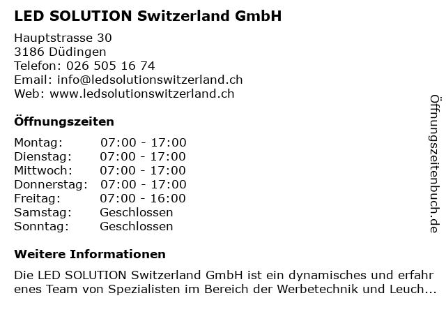 LED SOLUTION Switzerland GmbH in Düdingen: Adresse und Öffnungszeiten