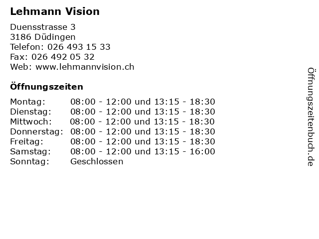 Lehmann Vision in Düdingen: Adresse und Öffnungszeiten