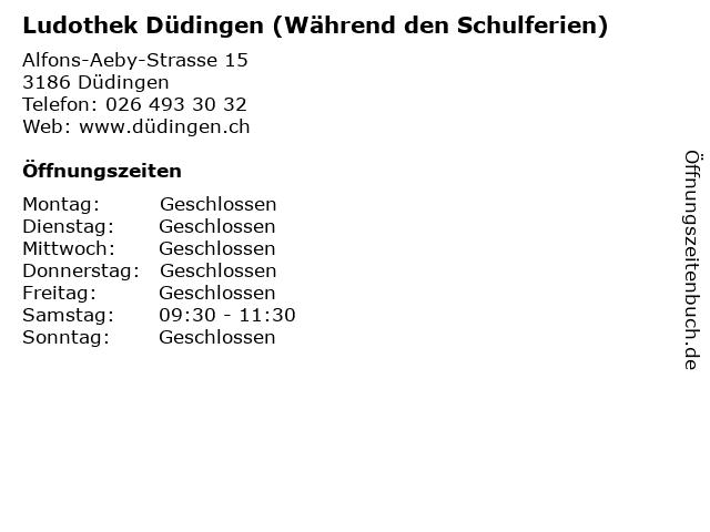 Ludothek Düdingen (Während den Schulferien) in Düdingen: Adresse und Öffnungszeiten