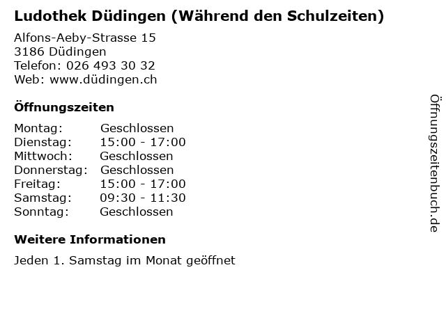 Ludothek Düdingen (Während den Schulzeiten) in Düdingen: Adresse und Öffnungszeiten