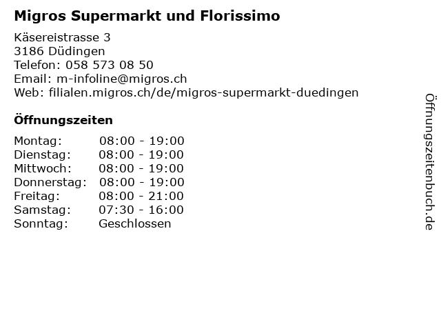 MIGROS Supermarkt in Düdingen: Adresse und Öffnungszeiten