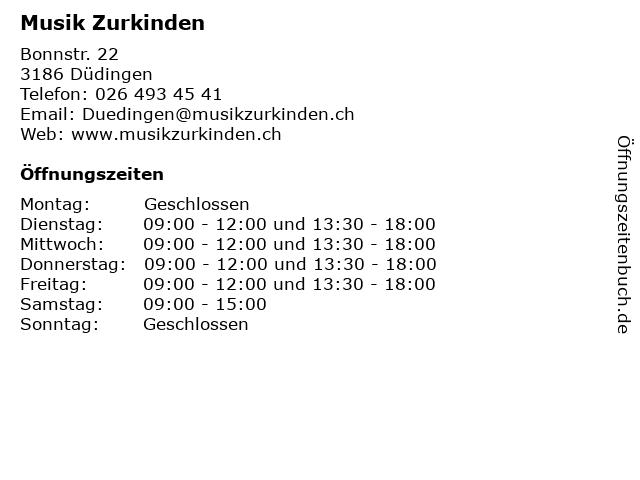 Musik Zurkinden in Düdingen: Adresse und Öffnungszeiten