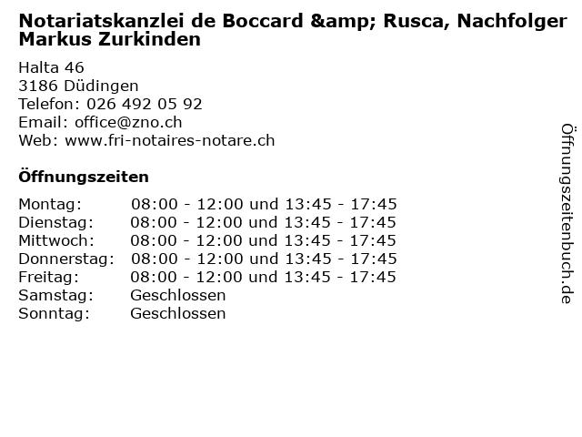 Notariatskanzlei Zurkinden - de Boccard - Rusca - Bächler in Düdingen: Adresse und Öffnungszeiten