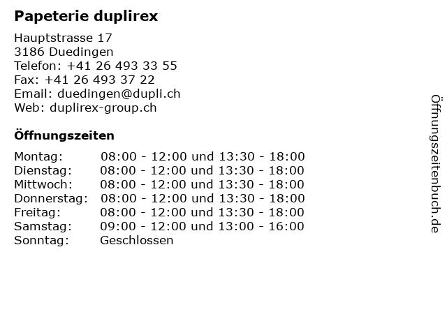 Papeterie duplirex in Duedingen: Adresse und Öffnungszeiten