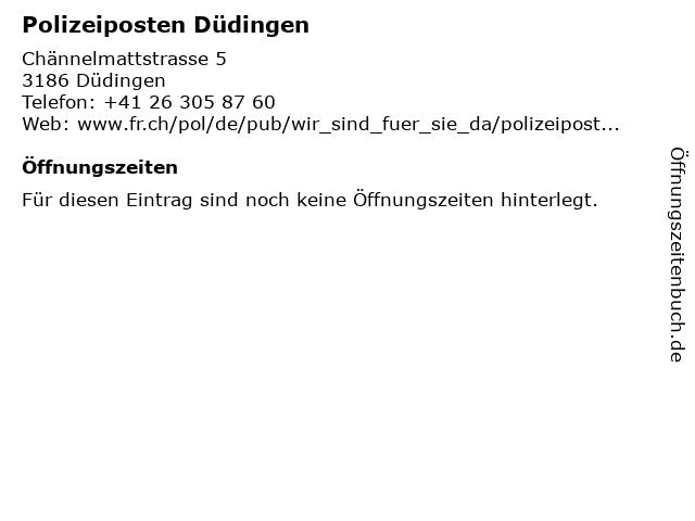 Polizeiposten Düdingen in Düdingen: Adresse und Öffnungszeiten