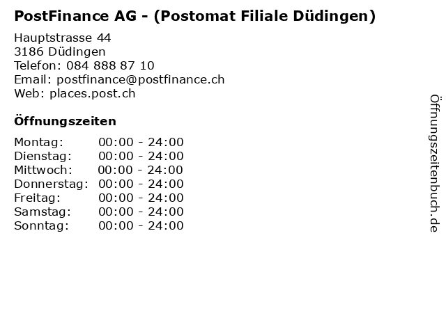 PostFinance AG - (Postomat Filiale Düdingen) in Düdingen: Adresse und Öffnungszeiten