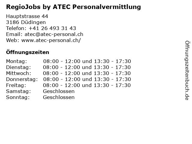 RegioJobs by ATEC Personalvermittlung in Düdingen: Adresse und Öffnungszeiten