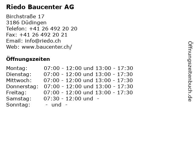 Riedo Baucenter AG in Düdingen: Adresse und Öffnungszeiten